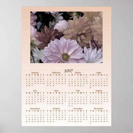 Dahlia Garden Flowers 2017 Calendar Poster
