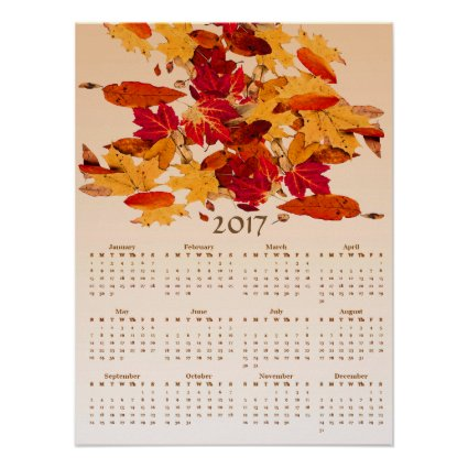 Autumn Leaves Red Yellow 2017 Calendar Poster