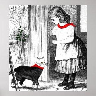 Vintage Girl Lets Her Cat In Poster