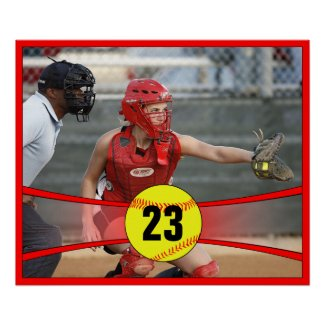 Custom Red Softball Poster