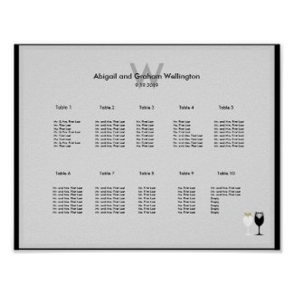 Wine Glases Wedding Seating Chart Poster