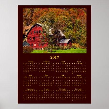 Red Barn in Autumn 2017 Calendar Poster