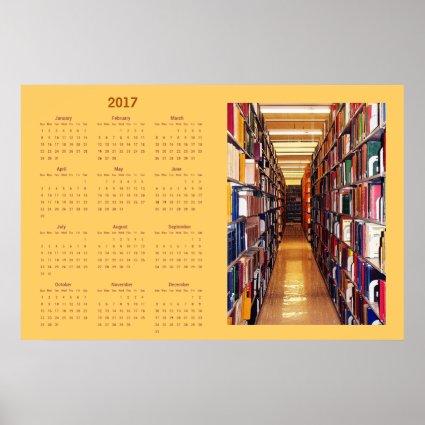 Library Books 2017 Calendar Poster