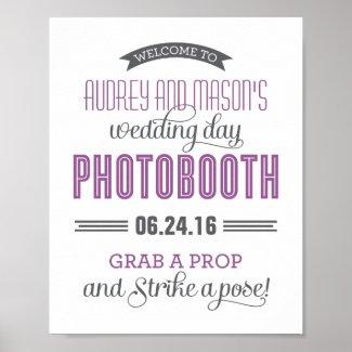 Custom Wedding Photo Booth Sign | Purple Gray Poster