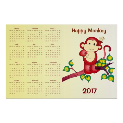 Happy Red Monkey 2017 Animal Calendar Poster