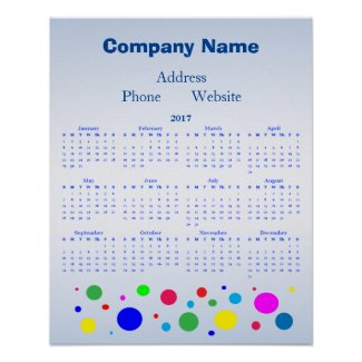 Polka Dot Balloon Promotional 2017 Calendar Poster