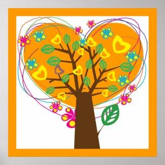 Heart love tree orange custom poster