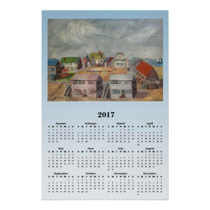 Ocean Beach Houses 2017 Scenic Calendar Poster