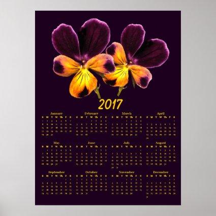 Purple Yellow Pansy Flowers 2017 Calendar Poster