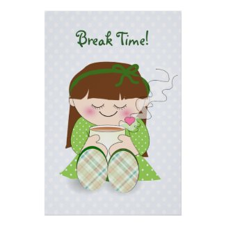 Mayonnaise Jar and Two Cups of Coffee Relax! Cute Kawaii Girl Relaxing with Tea Poster