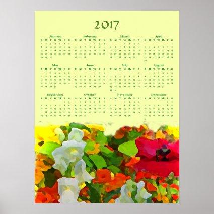 Flower Garden 2017 Floral Nature Calendar Poster