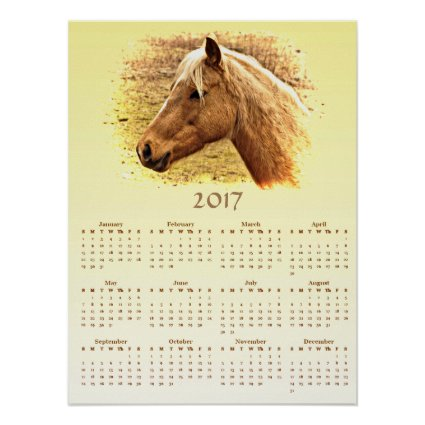 Brown Horse 2017 Yellow Animal Calendar Poster
