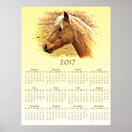 Brown Horse 2017 Yellow Animal Calendar Poster
