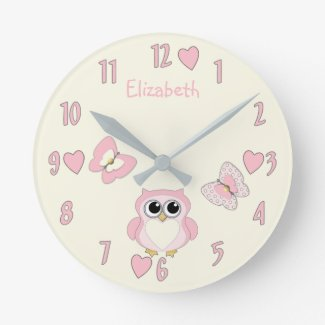 Little Girl's Owl Butterfly Clock
