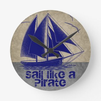 Sail like a pirate, boy nautical, vintage personal round clock