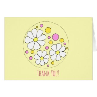 Retro Daisy Flowers Thank You Note Card