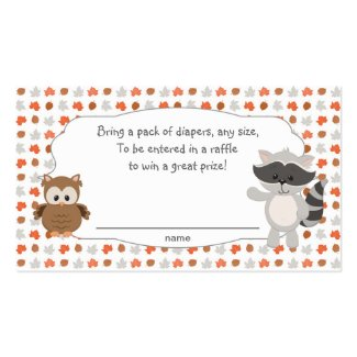 Woodland Animal Diaper Raffle Tickets Business Card