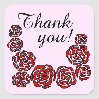 Stylish Stickers Illustrated Border of Red Roses