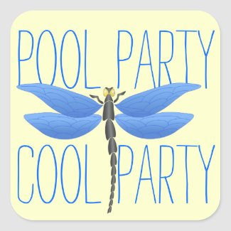 Cool Pool Party Fun Happy Birthday Square Sticker