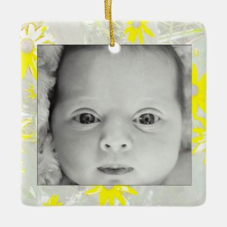 Gray and Yellow Daisy Framed Ornaments