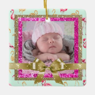 Keepsake Pink and Teal Flamingo Ornament New Baby