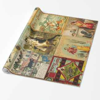 Vintage Puss in Boots Christmas Montage Wrapping Paper