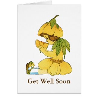 Yellow Buttercup Child Get Well Note Card