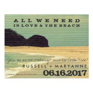 Destination Beach Wedding Save the Date Postcards