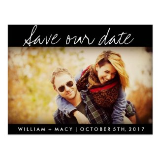 Black Custom Photo Wedding Save the Date Postcard