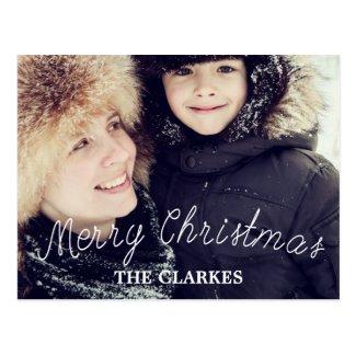Merry Christmas Cute Handwriting & Photo Postcard