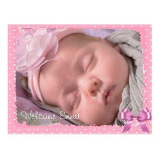 Beautiful Pink Polka Dot Baby Birth Announcement Postcard