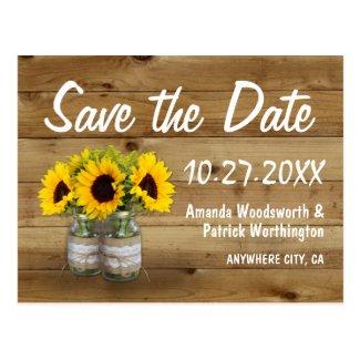 Mason Jar Burlap Sunflower Wedding Save The Date Postcard