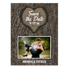 Country Rustic Carved Oak Tree Save The Date Cards