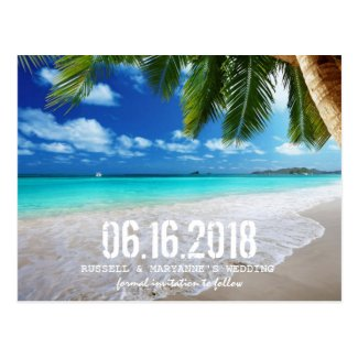 Tropical Beach Wedding Save the Date Postcard