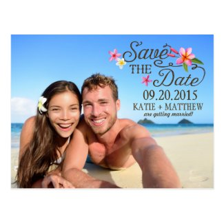 Luau Hawaiian Rustic Beach Save the Date Postcard