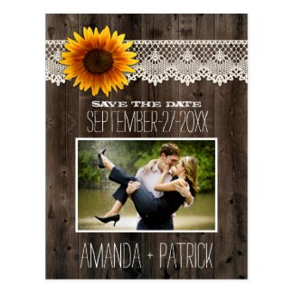 Photo Wood Sunflower Wedding Save The Date Cards