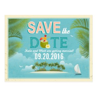 Island Resort Beach Destination Save the Date Postcard