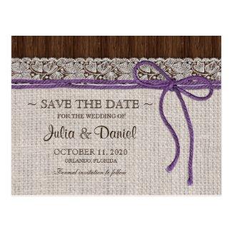 Purple Rustic Wedding Save The Date Postcard