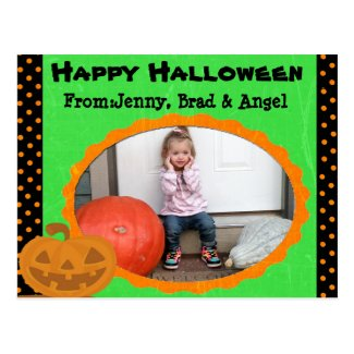 Happy Halloween Pumpkin Post Card- Add your Photo Postcard