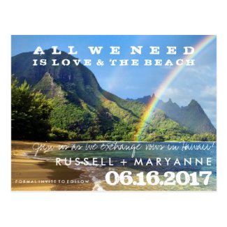 Hawaiian Islands Wedding Save the Date Postcards