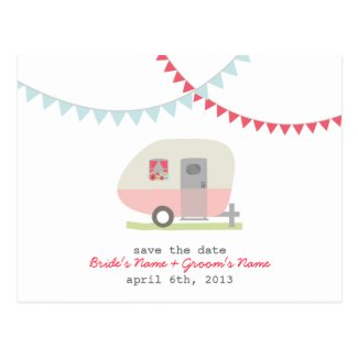 Pink Retro Trailer Wedding Save The Date Postcard