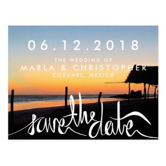 Sunset on the Beach Wedding Save the Dates Postcard