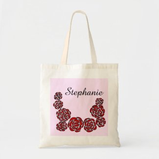 Floral Border of Red Roses and Personalized Name Tote Bag