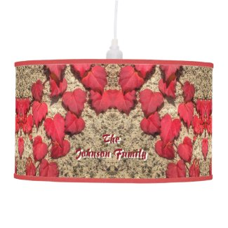 Cute Heart-Shaped Red Fall Vine Leaves Botanical Ceiling Lamp