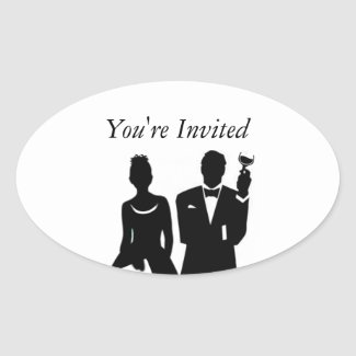 Wedding Invite Envelope Seal Oval Sticker