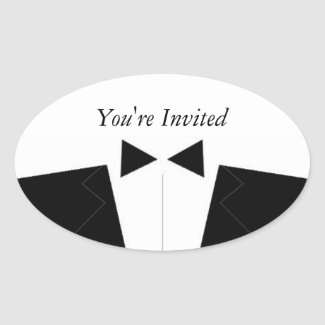 Best Man or Groomsman Invite Envelope Seal Oval Sticker
