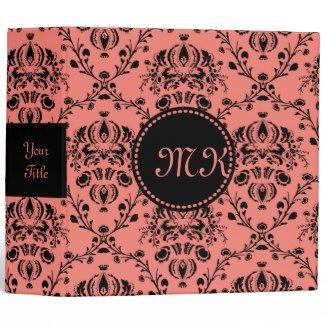 Monogrammed Elegant Black Girly Damask Coral Pink Binder
