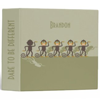 Dare to be different, monkeys, safari 3 ring binder