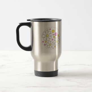 Retro Daisy Flowers for Bridesmaid Gift Travel Mug