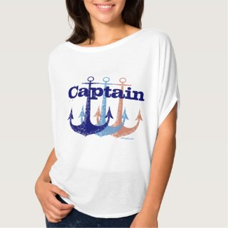 Blue anchor Captain nautical personalized Tee Shirt